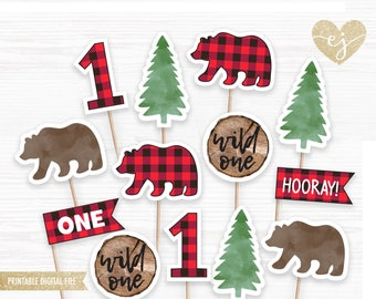 Woodland Cupcake Toppers, Lumberjack Cupcake Toppers, Buffalo Plaid Bday, Baby Bear Birthday, Lumberjack First Birthday, Wild One Birthday