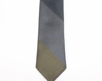 "60's Super Skinny Tie Necktie / Rep Stripe Tie / Diagonal Stripe / Black, Gray, Gold / Wembley / 2  1/8"" wide"