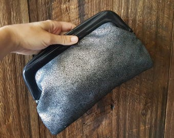 Vintage Leather Clutch Purse bag / black leather silver sparkle / evening