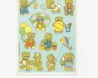 Vintage 80s Hallmark Sticker Sheet, Teddy Bears, Paper Ephemera, Sticker Collectibles, Toy
