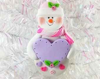 Snowman Christmas Ornament - Baby Girl First Christmas - Baby Shower Keepsake Gift - Snow Girl with Heart Ornament - Snowman Collector -5123