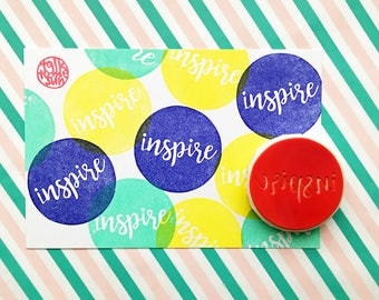 inspire rubber stamp | calligraphy stamp | birthday card making | diy planner art journal | gift for her | hand carved stamp by talktothesun