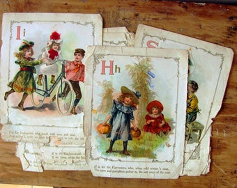 antique book pages - Victorian children lithograph prints - storybook alphabet pages - little workers - paper ephemera - scrapbook supply