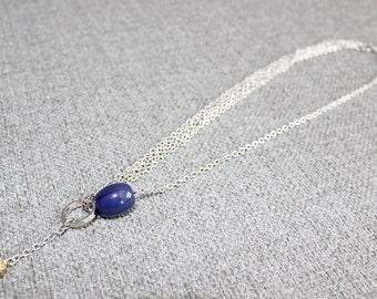collier court, collier ajustable, bleu marine, metal or, gold, acier inoxydable, delicat, short necklace, multi rang chaine acier inoxydable