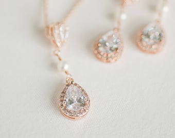 Rose Gold Bridal Jewelry Set,  CZ Bridal Earrings, Wedding Jewelry, Bridal Necklace & Earrings