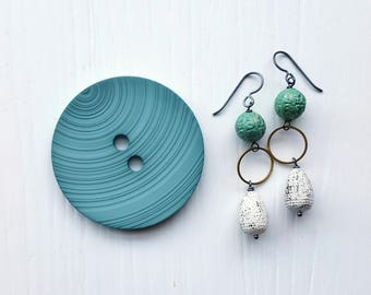 weathered earrings -nautical, rustic, aged, patina - verdigris beads - green, white - sterling silver hooks