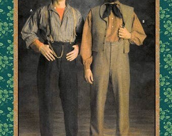 VICTORIAN WORKING MAN-Historical Sewing Pattern-Dropped  Shoulder-Loose Fit-Shirts-Buttoned Trousers-Watch Pocket-Uncut-Size 38-44-Rare