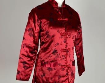 Christmas Jacket, Red Jacket, Silky Jacket, Asian Jacket, Cranberry Red, Quilted Jacket, Vintage Jacket, 1950s Jacket, Embroidered Jacket