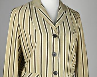 Linen Jacket, Stripped Jacket, Tan & Brown, Short Jacket, Long Sleeves, 1950s Clothing, Size Small, Vintage Jacket, Casual Jacket,