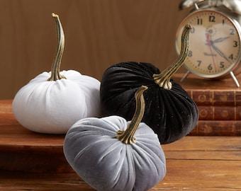 Scented Velvet Pumpkins, SET of 3:  Gray, White, Black