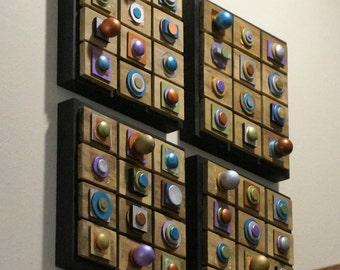 "FREEship,""4"" Modern Panels,Sculptural,Metallic,Minimalist Contemporary Installation Wall Art"