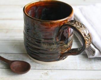 Handmade Rustic Stoneware Mug in Rich Amber Brown Glaze 13 oz. Handcrafted Coffee Cup Ready to Ship Made in USA