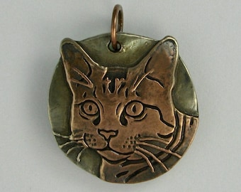Cat pendant tabby copper and white copper DTPD