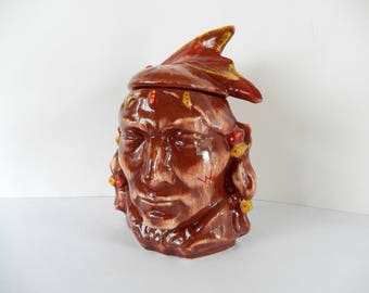 vintage McCoy Native American Indian head cookie jar, collectible, home decor, very good condition