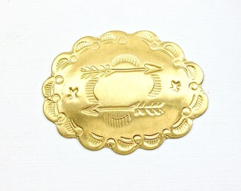 3 gold Southwestern Concho brass jewelry embellishment. 2 inches long. (Bag 3).