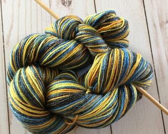 """Wood and Wool Self Striping 3ply Fingering Yarn, Sock, 50/50 Superwash Merino/ Tencel """"Exploding T.A.R.D.I.S. 2.0"""" Great Shine. 400 yards"""