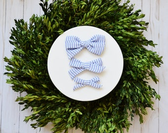 Periwinkle Blue Stripe Double Gauze Simple Classic Hand tied Fabric Bow Nylon or Clip
