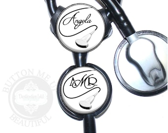 """1 1/2"""" Design Stethoscope ID Tag - Personalized Sonographer Ultrasound Wand Nurse Littmann Identification in 6 Color Choices (A376)"""