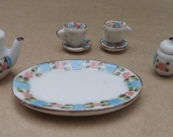 Tiny Dollhouse Dishes Porcelain Tea Set