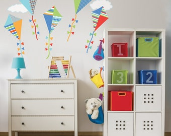 Primary Colors Kites Fabric Wall Decals with Clouds, Color 2, Eco Friendly Peel and Stick Reusable Fabric Wall Stickers