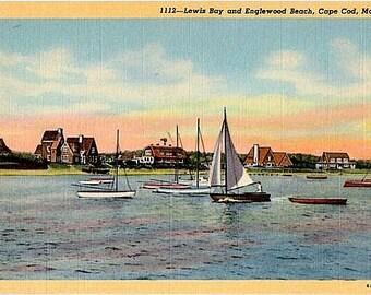 Vintage Cape Cod Postcard - Sailboats on Lewis Bay (Unused)