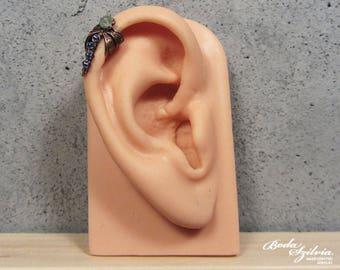 DRAGONFLY EAR CUFF - copper and teal apatite cartilage ear cuff, no piercing ear cuff, adjustable ear cuff, dragonfly jewelry