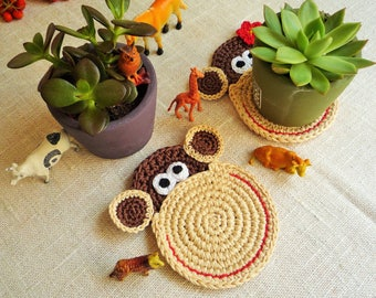 Monkey Coasters - Crochet Coasters - Monkey Mug Rug - Animal Coasters - Gift for Couple - Wedding Gift - Set of 2 -  Everyday Gift