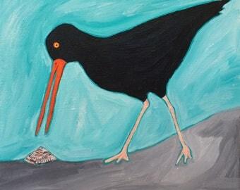 oystercatcher meets limpet  - ART CARD - ecofriendly