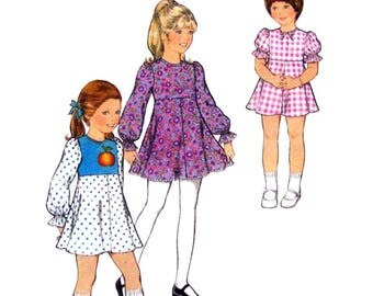 1970s Girls Dress Pattern Style 4833 Empire Waist Flared Dress Long or Short Puff Sleeves Size 5 UNCUT
