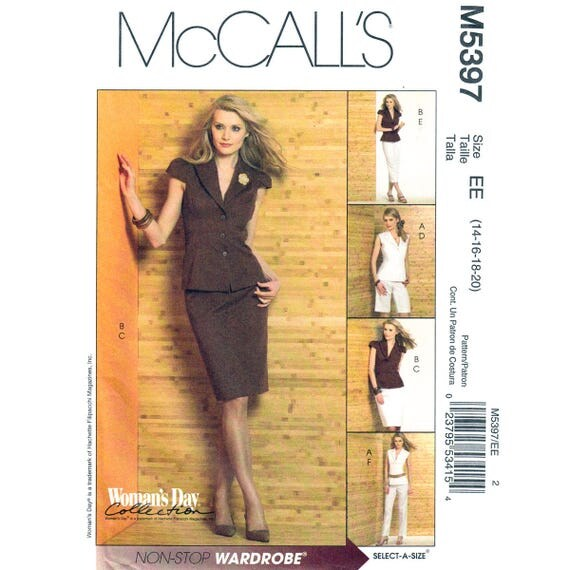 Womens Suit Jacket, Slim Skirt, Shorts, Pants Sewing Pattern McCalls 5476 Size 14 16 18 20