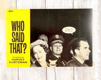 Who Said That? 1962 First Printing Softcover Book by Harvey Kurtzman, MAD Magazine