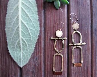 Archway Earrings - Statment Earrings - Long Minimalist Brass Earrings - People Earrings - Boho Artisan Jewelry