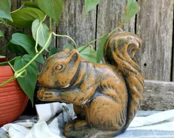 Adorable Vintage Chippy Concrete Squirrel Doorstop