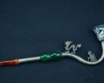 Chinese CLOISONNE Asian Ornamental Pipe Tibetan Miao Silver Kirin Dragon Monkey