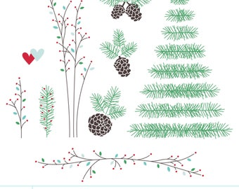 Twiggy Lil Christmas Digital Clipart Clip Art Illustrations - instant download - limited commercial use ok