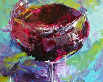 Red Wine Drink Small Original Modern Impressionism Painting Wall Art Free Shipping USA