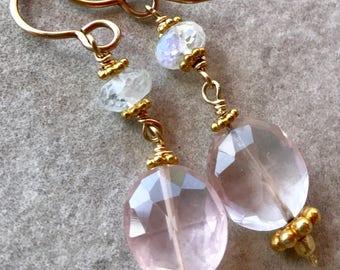 Morganite Earrings, Pink Aquamarine Earrings, Rainbow Moonstone Earrings, Gold Dangle Earrings, Gold Filled Earrings, Vermeil Earrings