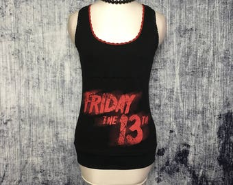 Friday 13th Women's Tank Top // Reconstructed T-Shirt // Size Small // Horror Gothic Music Alternative Halloween