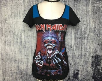 Iron Maiden Women's T-Shirt // Reconstructed T-Shirt // Size Small // Heavy Metal Music Gothic Rock Alternative Emo