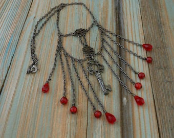 Steampunk Necklace Skeleton Key Gunmetal Bib Style Handmade ~ Ruby Red Wire Wrapped Glass Bead Chain ~ Gothic Neo Victorian