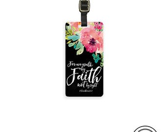 Personalized Luggage Tag Bible Verse Walk By Faith Not Site 2 Corinthians 5:7  - Metal Tag Single Tag