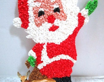 Vintage Santa Claus, Christmas Melted Plastic Popcorn, Indoor / Outdoor Wall / Window Decor, Holiday Fun, Boomers, Toy Bag