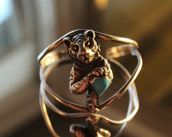 Vintage Sterling Silver Turquoise Bangle Vintage Navajo Cuff Bracelet Native American with baby tiger