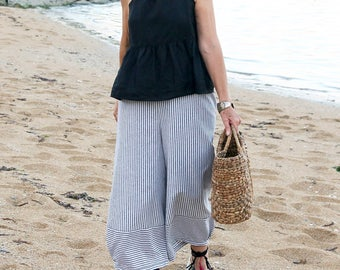 LINEN, Black & White Striped Culotte Pants With Horizontal Band at Bottom, 10 sizes