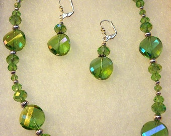 Cool Green Glass Necklace and Earring set