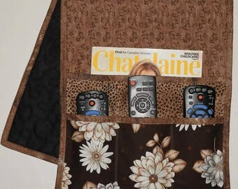 Quilted Armchair Caddy, Bedside Caddy, Brown, Beige Flowers