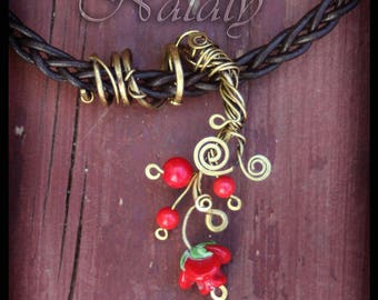 Wire Wrapped Red Flower Choker Necklace - Red Rose Choker Necklace - Leather Choker Necklace for Women - Flower Necklace for Women
