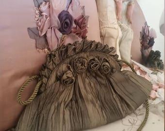 vintage green bag, silk look purse, green evening purse, rosettes beads, victorian look bag
