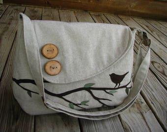 Laptop Vegan Bag, Nature Tote, Laptop Crossbody Bag, Vegan Purse, Bird Bag, Eco-Friendly Nature Messenger, Ultra Suede Applique