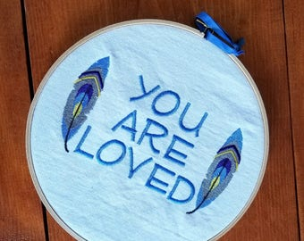 You Are Loved Embroidered Wall Hanging Home Decor Handmade Gift